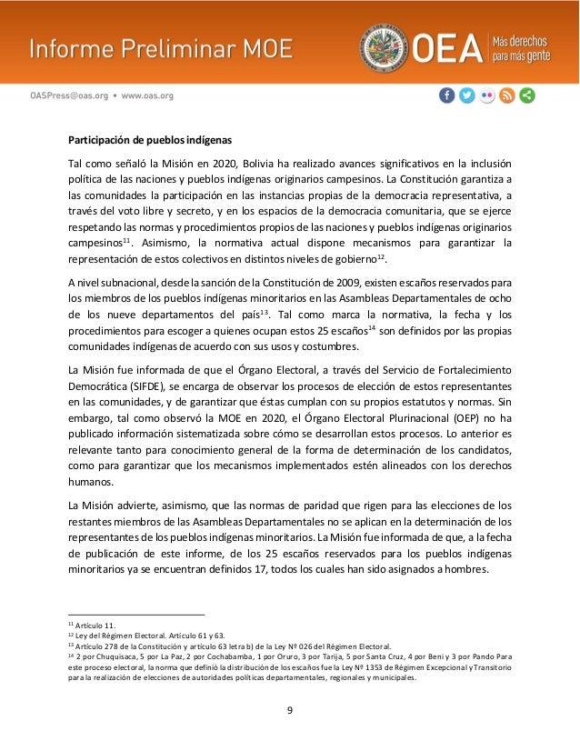 9 Participación de pueblos indígenas Tal como señaló la Misión en 2020, Bolivia ha realizado avances significativos en la ...