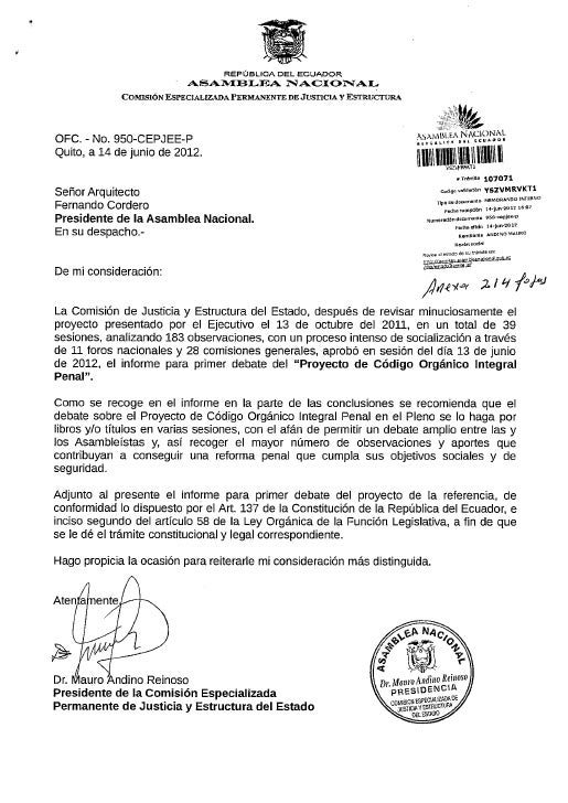 ASAMBLEA NACIONAL DE LA REPÚBLICA DEL ECUADOR    Comisión Especializada Permanente de Justicia               y Estructura ...