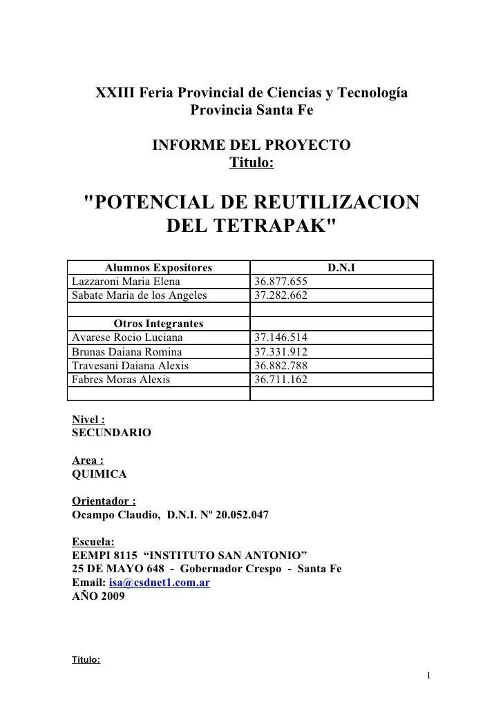 Informe Proyecto Feria De Ciencias 2009 Inst San Antonio
