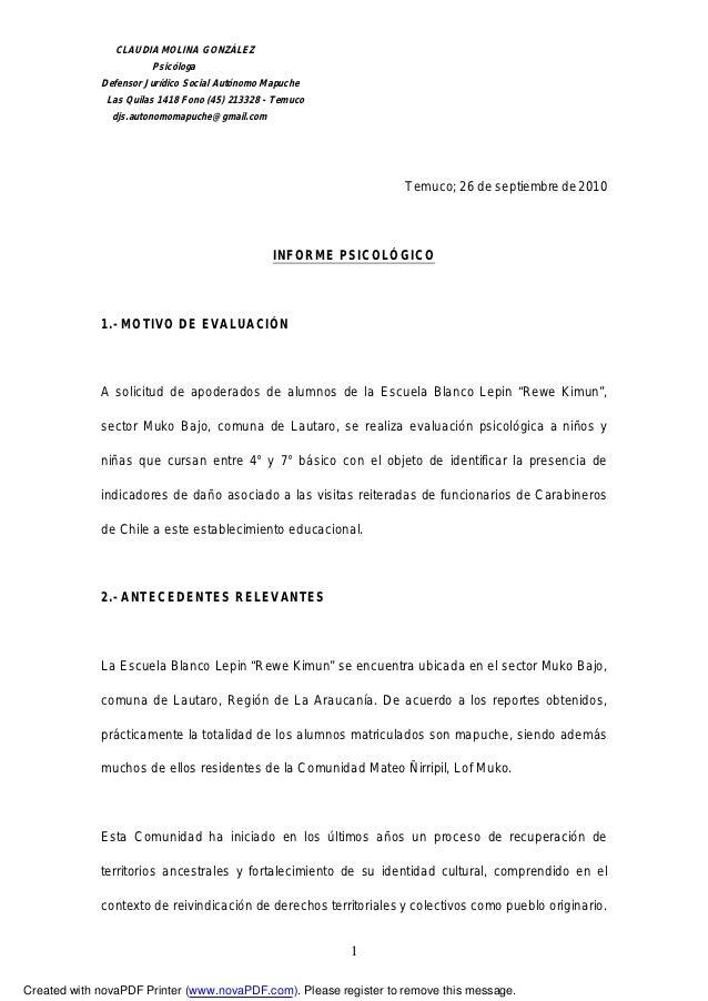 CLAUDIA MOLINA GONZÁLEZ                       Psicóloga             Defensor Jurídico Social Autónomo Mapuche             ...