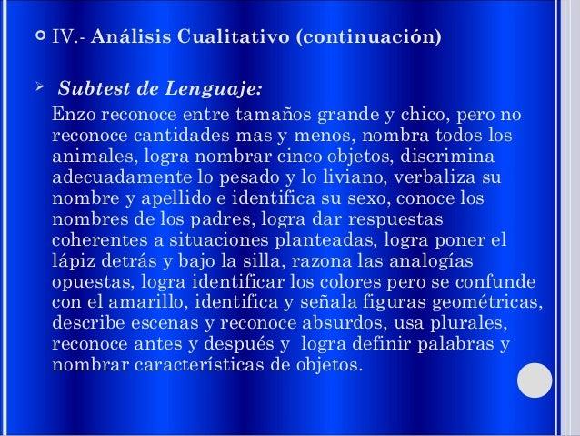  IV.- Análisis Cualitativo (continuación)  Subtest de Lenguaje: Enzo reconoce entre tamaños grande y chico, pero no reco...
