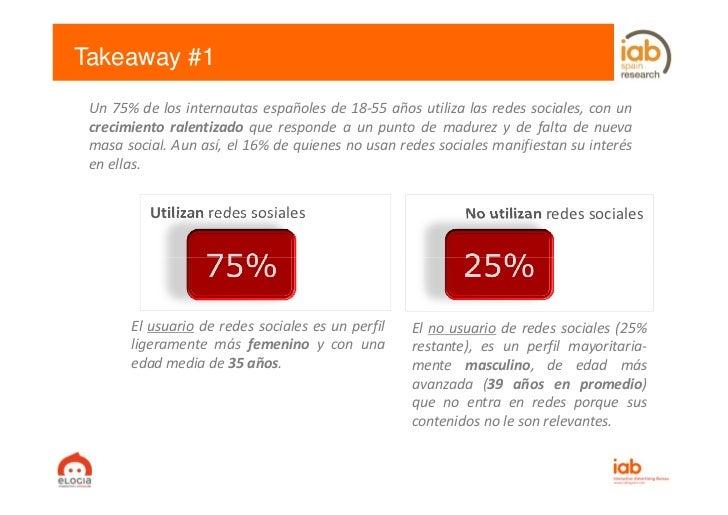 Takeaway #1 Un 75% de los internautas españoles de 18‐55 años utiliza las redes sociales, con un crecimiento ralentizado q...