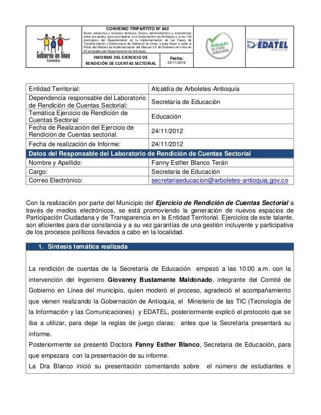 CONVENIO TRIPARTITO Nº 842                    Aunar esfuerzos y recursos técnicos, físicos, administrativos y económicos  ...