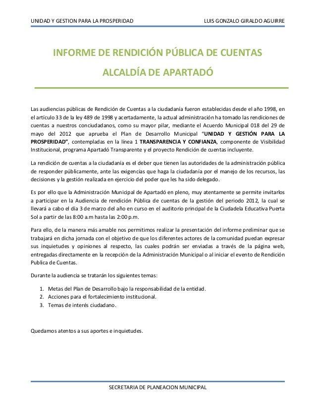 UNIDAD Y GESTION PARA LA PROSPERIDAD                                     LUIS GONZALO GIRALDO AGUIRRE         INFORME DE R...
