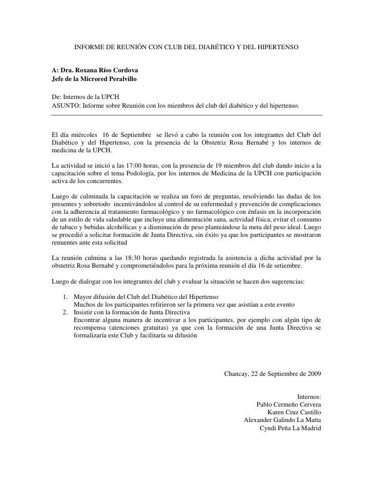 INFORME DE REUNIÓN CON CLUB DEL DIABÉTICO Y DEL HIPERTENSO<br />A: Dra. Roxana Ríos Cordova<br />Jefe de la Microred Peral...
