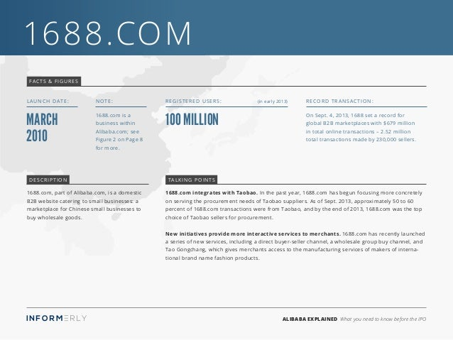 ALIBABA EXPLAINED What you need to know before the IPO 1688.com 1688.com integrates with Taobao. In the past year, 1688.co...