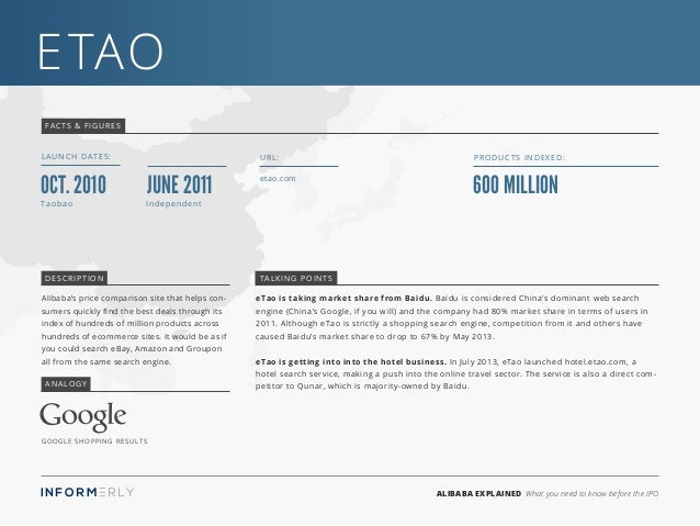 ALIBABA EXPLAINED What you need to know before the IPO eTao FACTS & FIGURES LAUNCH DATES: etao.com URL: 600 million Produc...