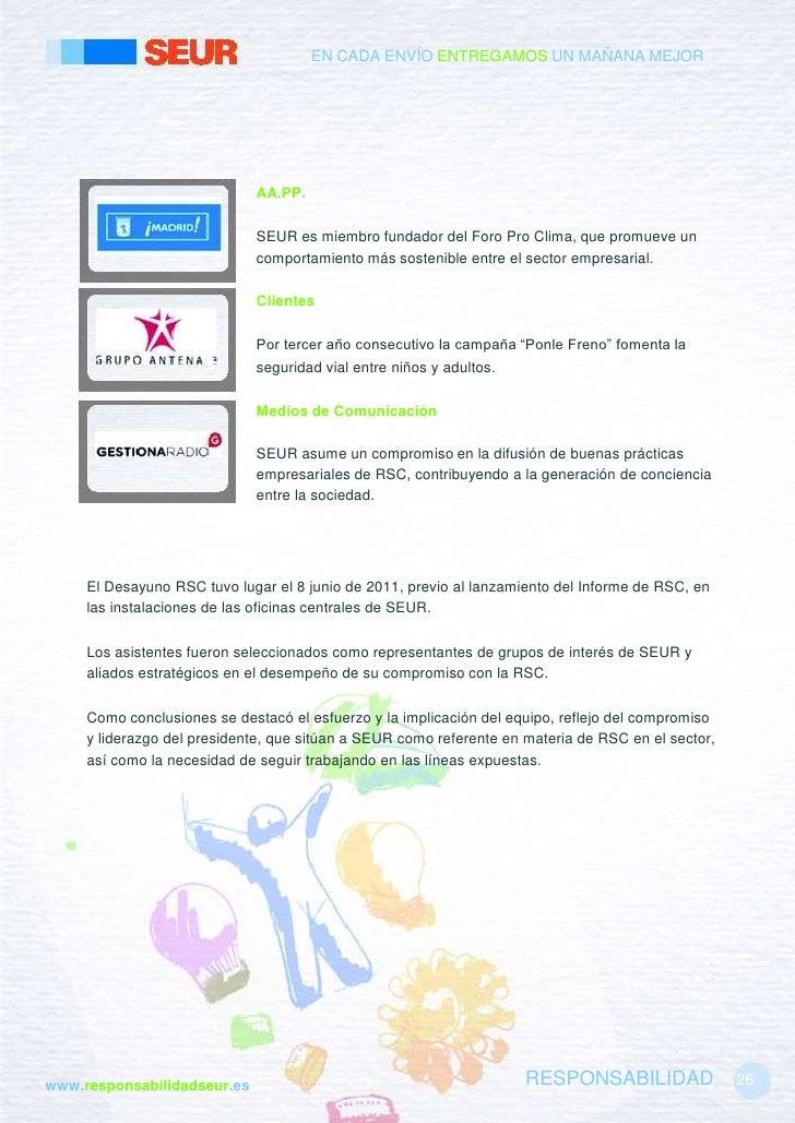 Informe rsc 2011 for Oficinas de seur en madrid
