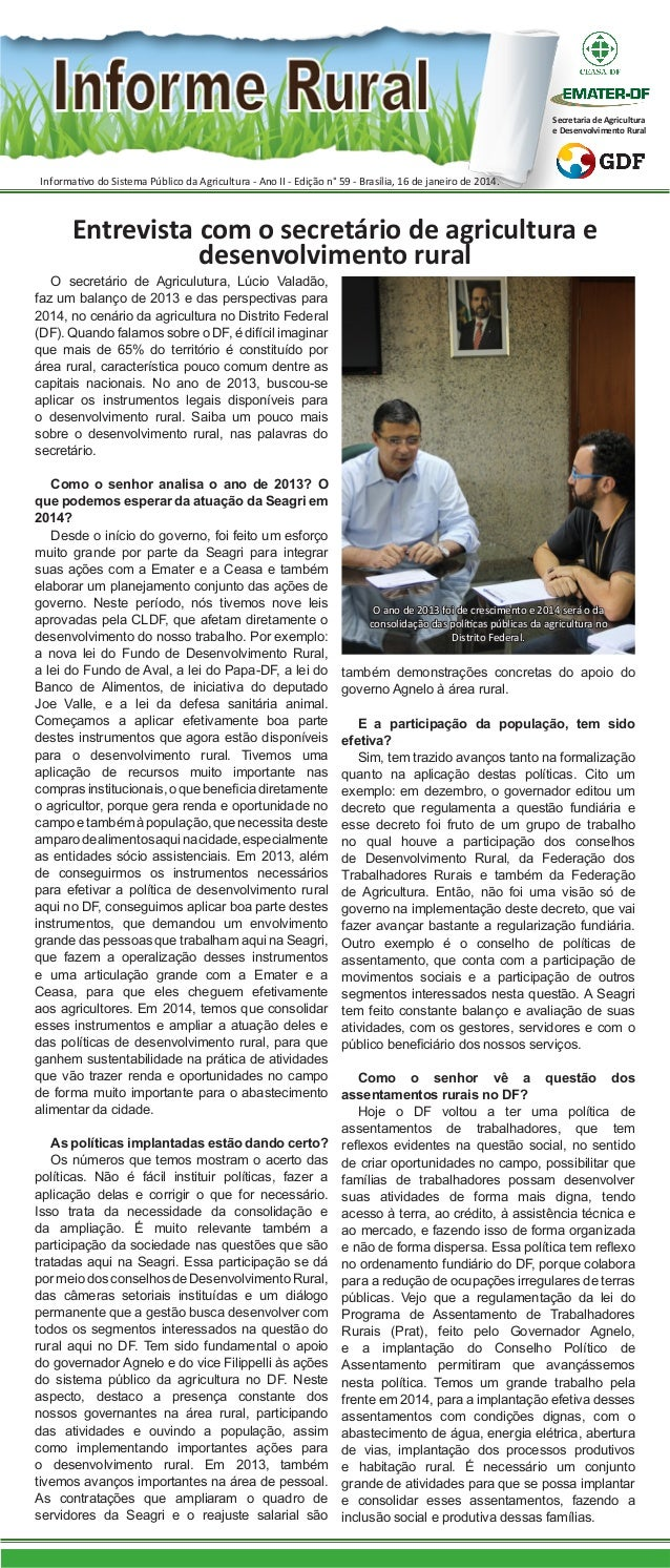Secretaria de Agricultura e Desenvolvimento Rural  Informativo do Sistema Público da Agricultura - Ano II - Edição n° 59 -...