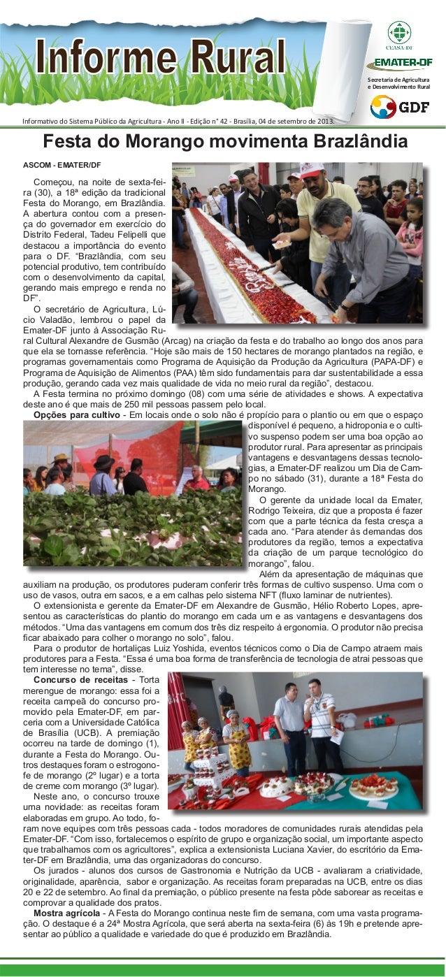 Informativo do Sistema Público da Agricultura - Ano II - Edição n° 42 - Brasília, 04 de setembro de 2013. Secretaria de Ag...