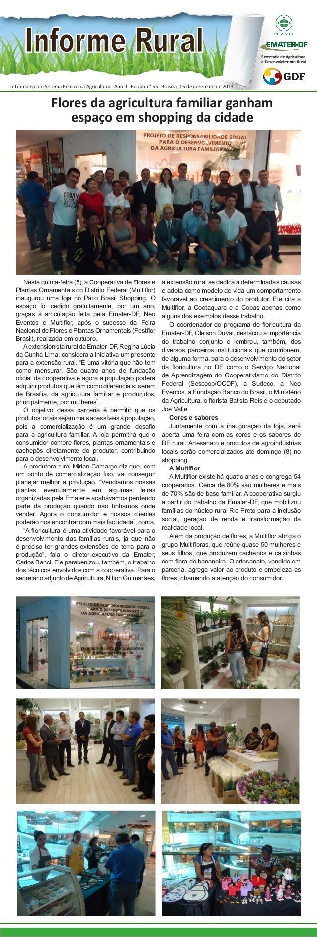Secretaria de Agricultura e Desenvolvimento Rural  Informativo do Sistema Público da Agricultura - Ano II - Edição n° 55 -...