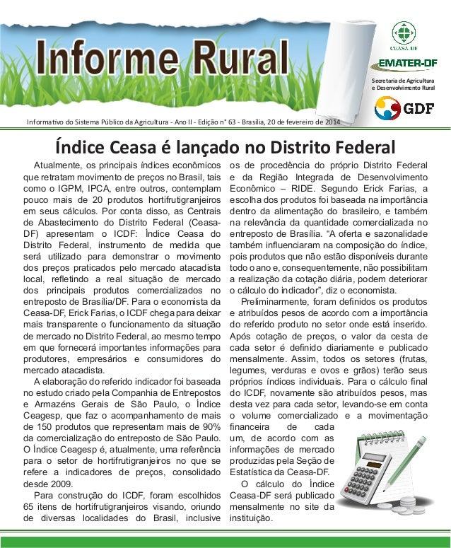 Secretaria de Agricultura e Desenvolvimento Rural  Informativo do Sistema Público da Agricultura - Ano II - Edição n° 63 -...