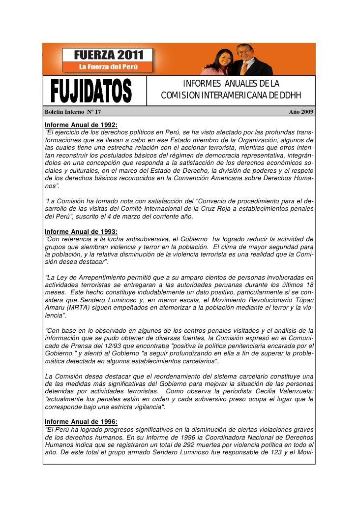 INFORMES ANUALES DE LA                                          COMISION INTERAMERICANA DE DDHH Boletín Interno Nº 17     ...