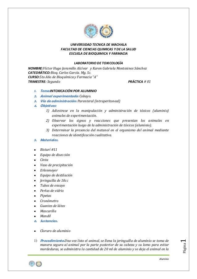 UNIVERSIDAD TECNICA DE MACHALA FACULTAD DE CIENCIAS QUIMICAS Y DE LA SALUD ESCUELA DE BIOQUIMICA Y FARMACIA LABORATORIO DE...