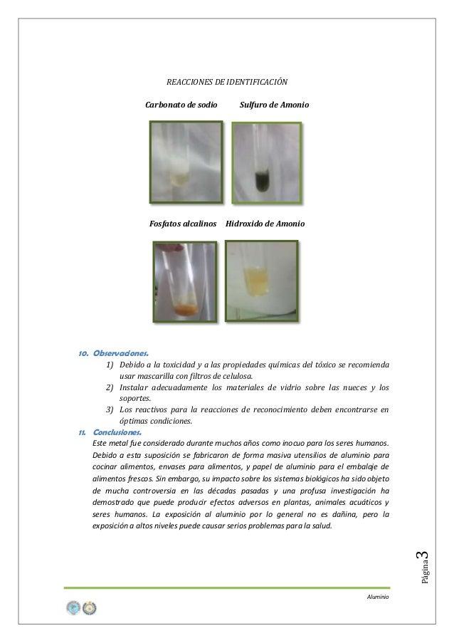 REACCIONES DE IDENTIFICACIÓN Carbonato de sodio  Fosfatos alcalinos  Sulfuro de Amonio  Hidroxido de Amonio  10. Observaci...