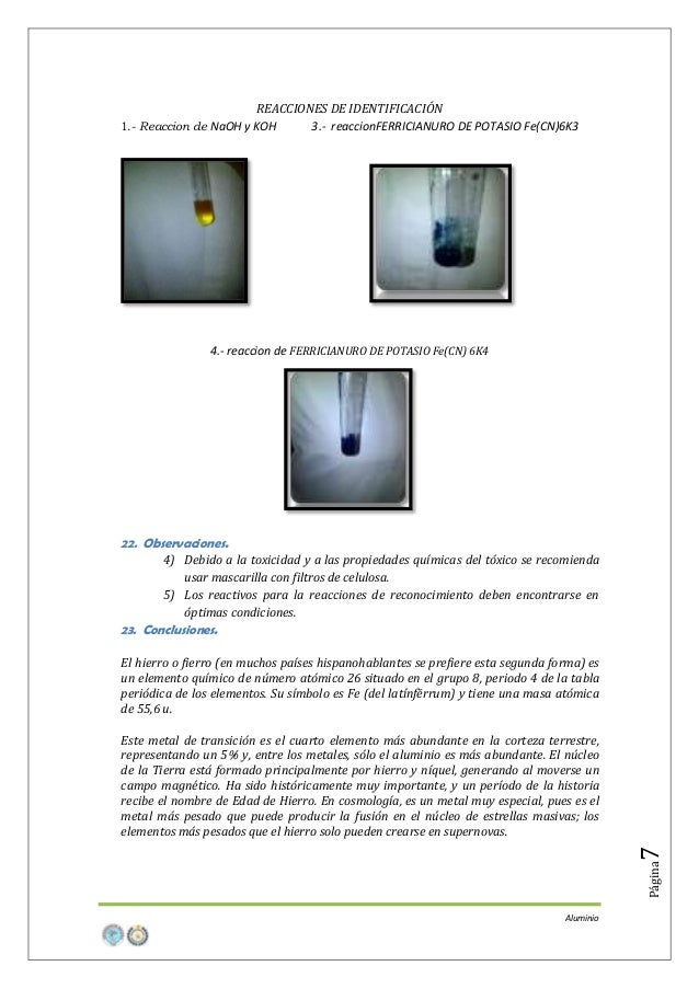 REACCIONES DE IDENTIFICACIÓN 3.- reaccionFERRICIANURO DE POTASIO Fe(CN)6K3  1.- Reaccion de NaOH y KOH  4.- reaccion de FE...