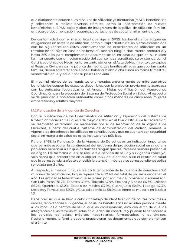 Informe De Resultados Enero Junio 2019 Seguro Popular México