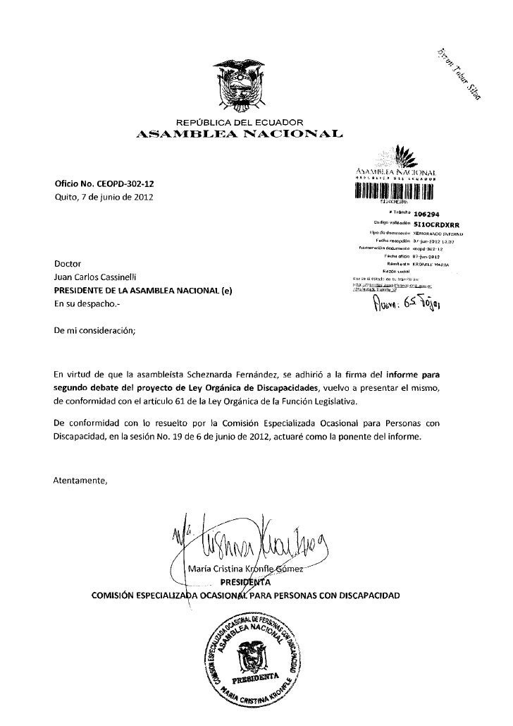 REPÚBLICA DEL ECUADOR                         ASAMBLEA NACIONAL                                                           ...
