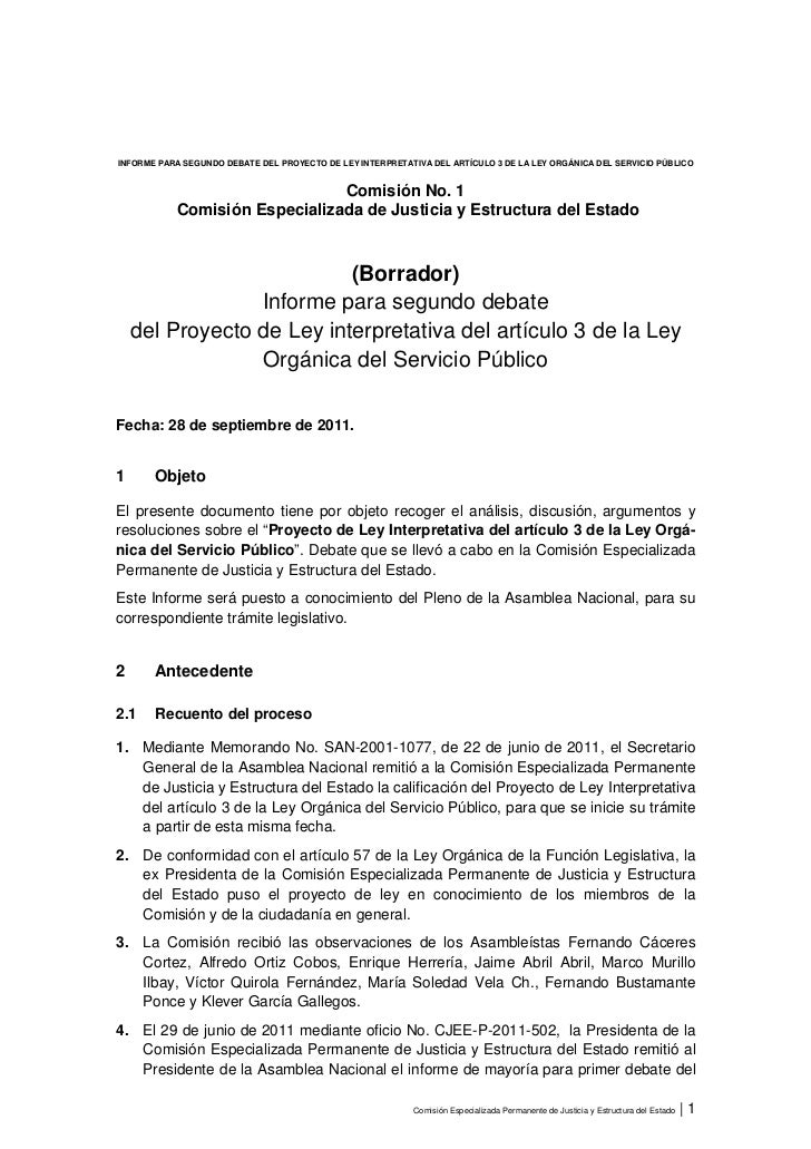 INFORME PARA SEGUNDO DEBATE DEL PROYECTO DE LEY INTERPRETATIVA DEL ARTÍCULO 3 DE LA LEY ORGÁNICA DEL SERVICIO PÚBLICO     ...