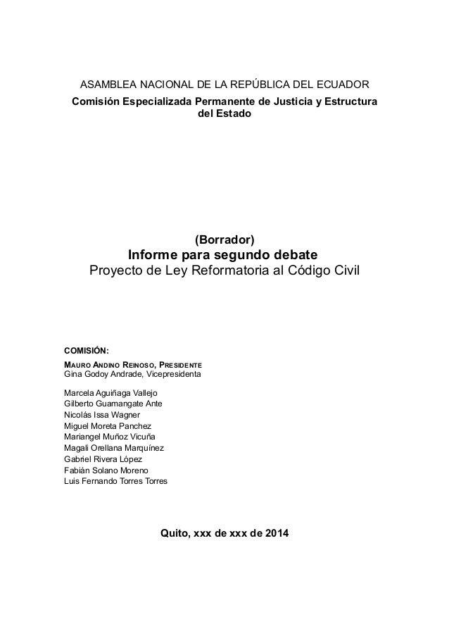 ASAMBLEA NACIONAL DE LA REPÚBLICA DEL ECUADOR Comisión Especializada Permanente de Justicia y Estructura del Estado (Borra...