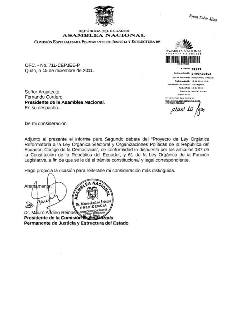 REPÚBLICA DEL ECUADOR                  ASAMBLEA NACIONAL    COMISIÓN ESPECIALIZADA PERMANENTE DE JUSTICIA y ESTRUCTURA DE ...