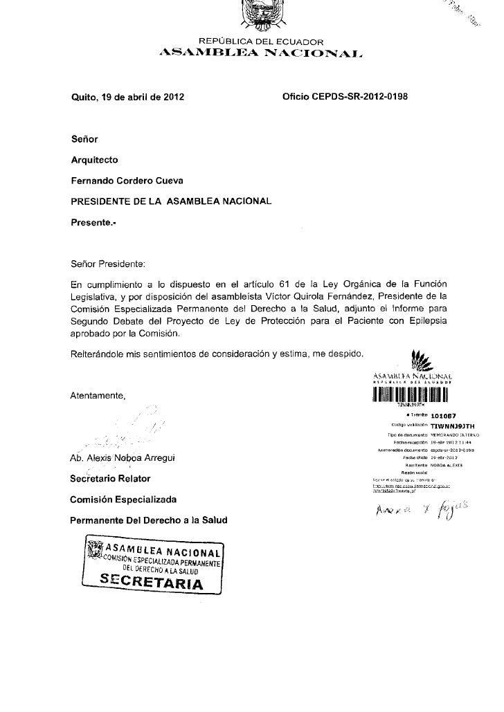 REPÚBLICA DEL E C U A D O R                         ASAMBLEA            NACIONALQuito, 19 de abril de 2012                ...
