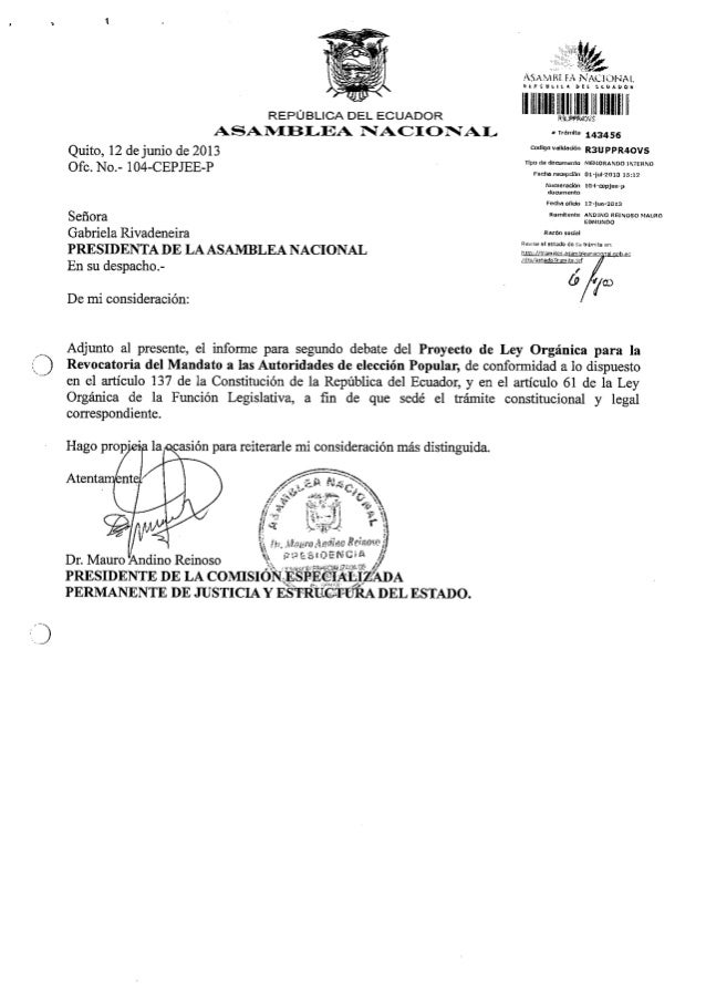 Informe segundo debate revocatoria mandato