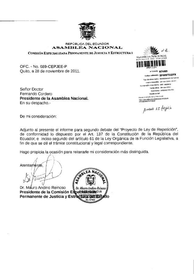 REPÚBLICA D E L E C U A D O R ASAMBLEA NACIONAL COMISIÓN ESPECIALIZADA PERMANENTE DE JUSTICIA Y ESTRUCTURA I OFC. - No. 6 ...