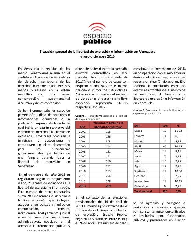 www.espaciopublico.org 1 Situación general de la libertad de expresión e información en Venezuela enero-diciembre 2013 En ...