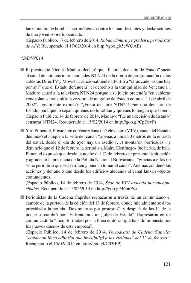 2014 Situación del Derecho a la Libertad de Expresión e Información en Venezuela