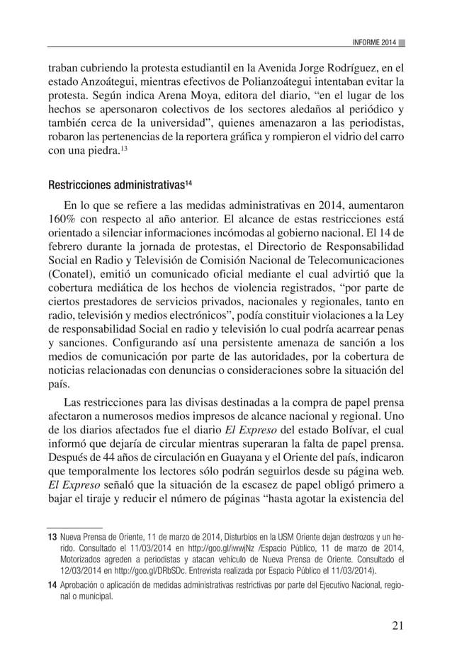 """22 VENEZUELA: SITUACIÓN DEL DERECHO A LA LIBERTAD DE EXPRESIÓN E INFORMACIÓN material con su edición de hoy"""". La noticia i..."""