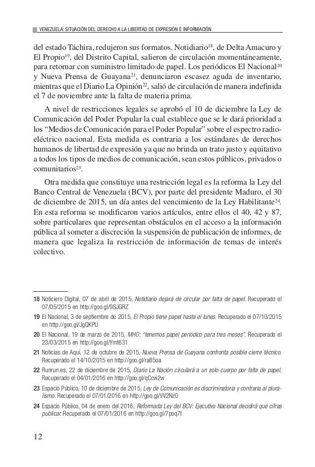 12 VENEZUELA: SITUACIÓN DEL DERECHO A LA LIBERTAD DE EXPRESIÓN E INFORMACIÓN del estado Táchira, redujeron sus formatos. N...