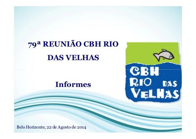 79ª REUNIÃO CBH RIO DAS VELHAS Informes Belo Horizonte, 22 de Agosto de 2014