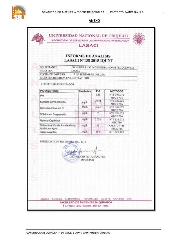 Informe sobre analisis quimico del agua  pampa baja Slide 2