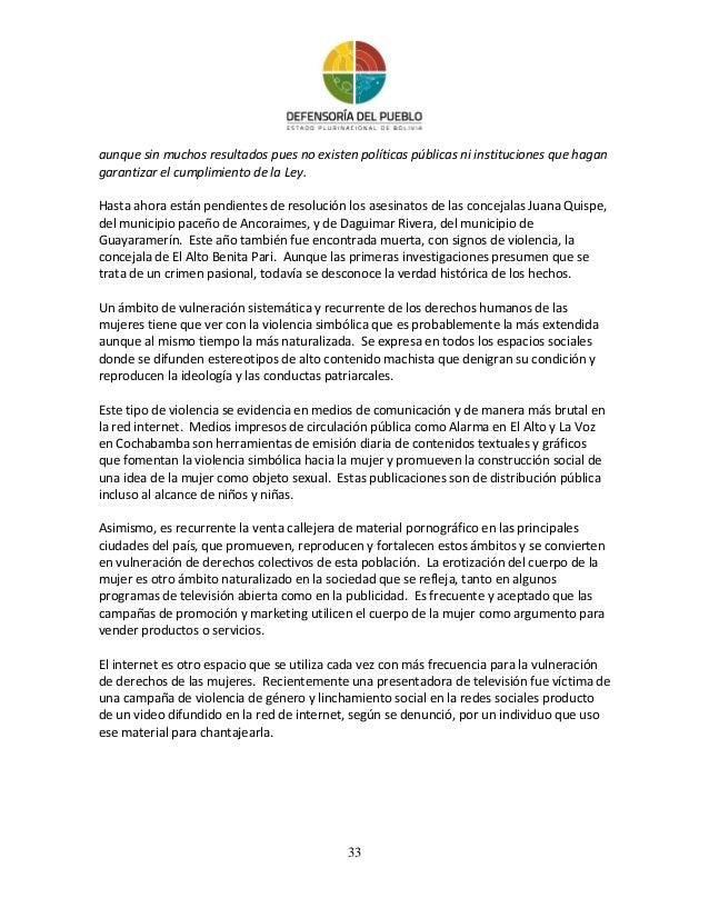 Informe sobre ddhh 2013 defensoria del pueblo