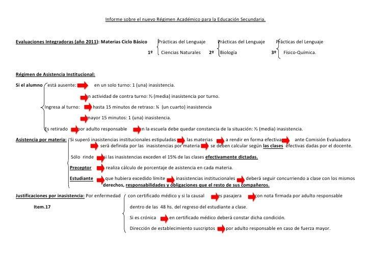Informe sobre el nuevo Régimen Académico para la Educación Secundaria.Evaluaciones Integradoras (año 2011): Materias Ciclo...
