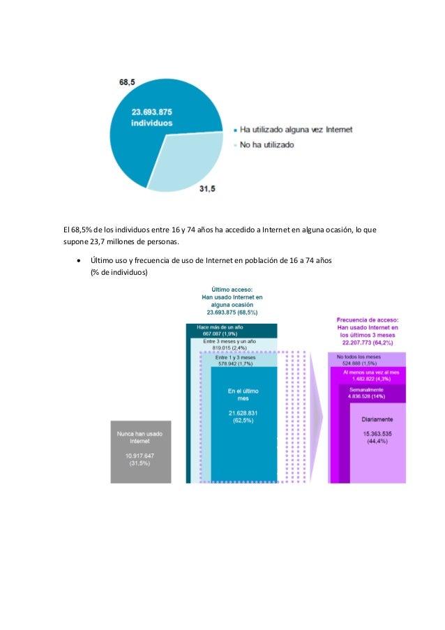 El 68,5% de los individuos entre 16 y 74 años ha accedido a Internet en alguna ocasión, lo quesupone 23,7 millones de pers...