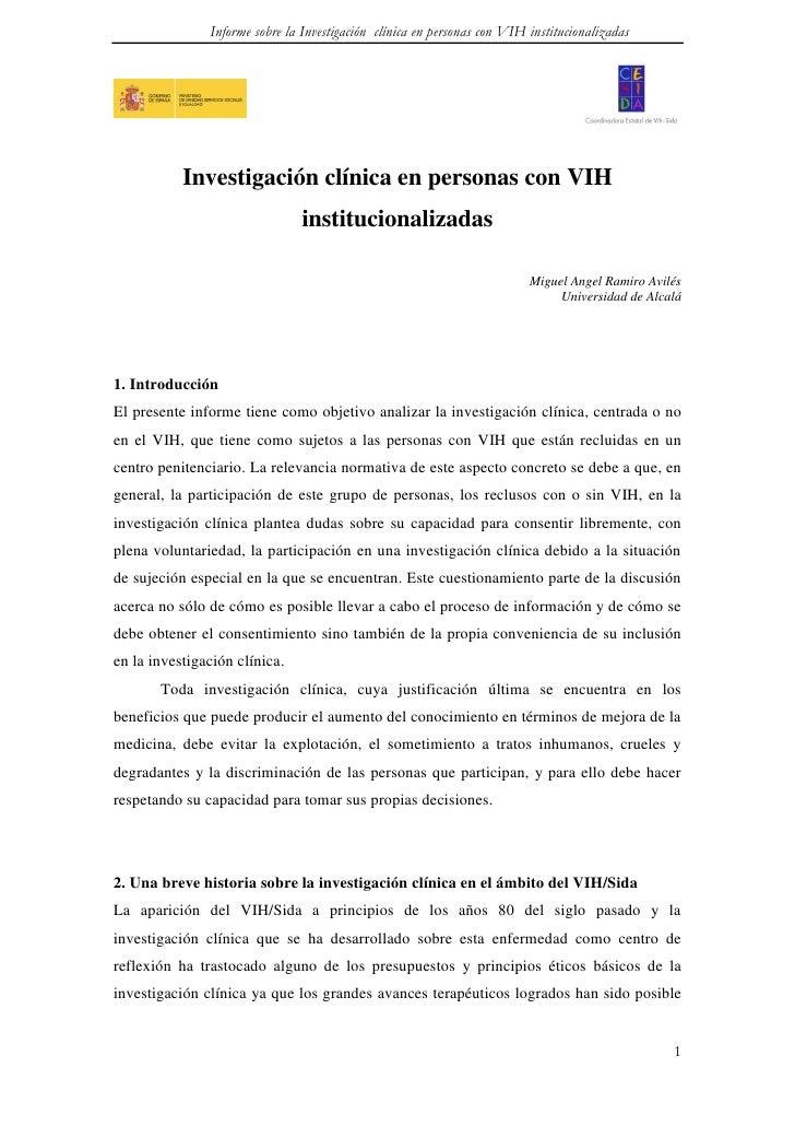 Informe sobre la Investigación clínica en personas con VIH institucionalizadas           Investigación clínica en personas...
