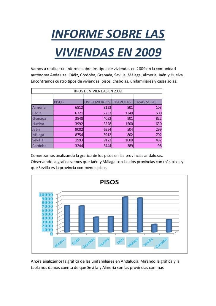 INFORME SOBRE LAS VIVIENDAS EN 2009<br />Vamos a realizar un informe sobre los tipos de viviendas en 2009 en la comunidad ...