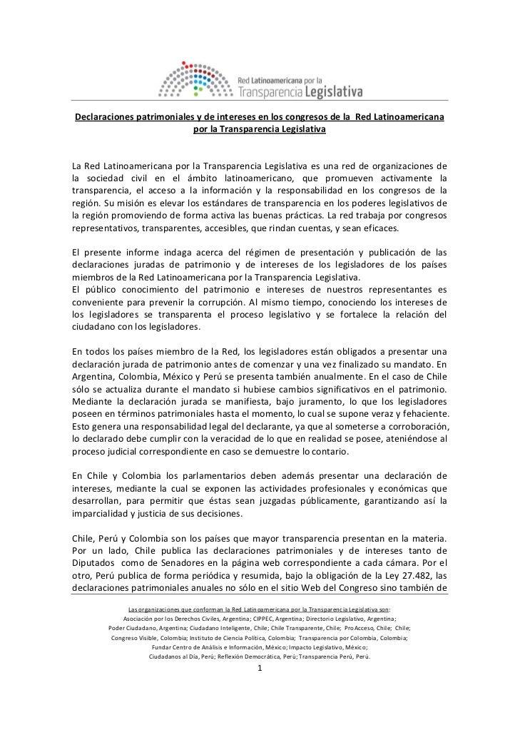 DeclaracionespatrimonialesydeinteresesenloscongresosdelaRedLatinoamericana                              ...