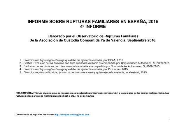 INFORME SOBRE RUPTURAS FAMILIARES EN ESPAÑA, 2015 4º INFORME Elaborado por el Observatorio de Rupturas Familiares De la As...