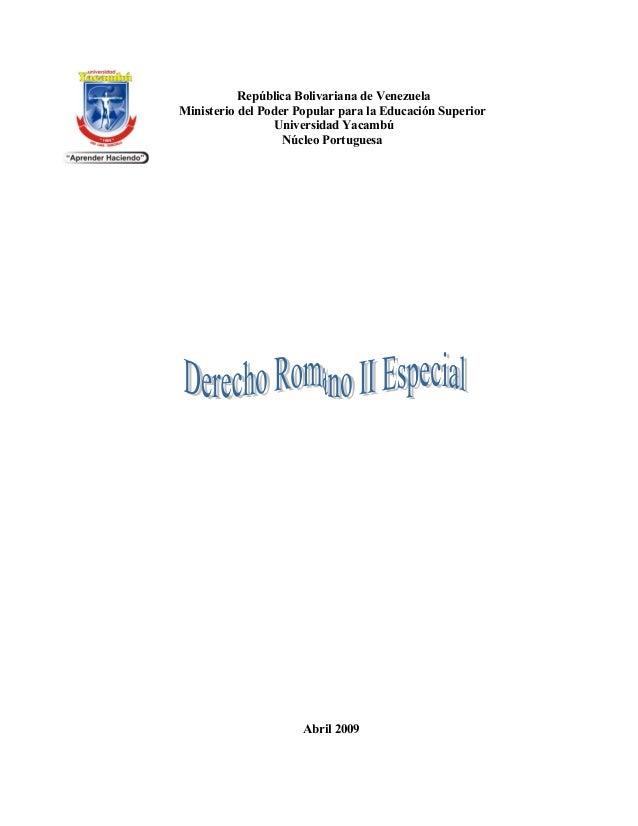 República Bolivariana de VenezuelaMinisterio del Poder Popular para la Educación Superior                 Universidad Yaca...