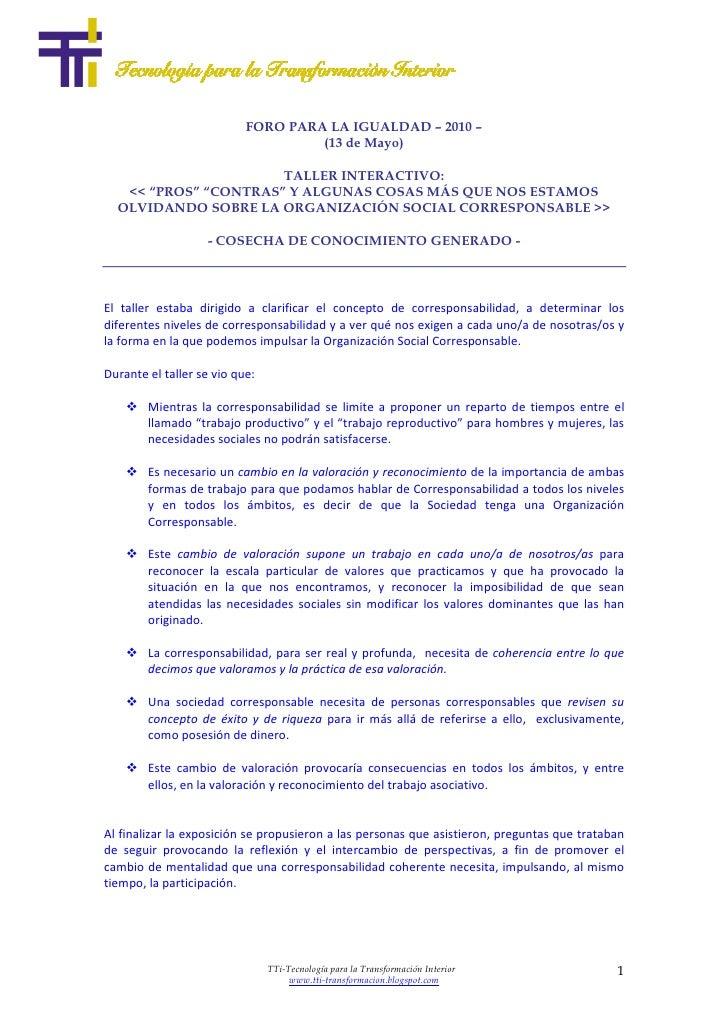 FORO PARA LA IGUALDAD – 2010 –                                     (13 de Mayo)                        TALLER INTERACTIVO:...