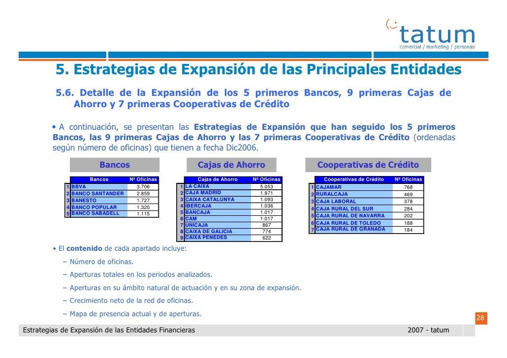 Informe tatum Estrategias de expansión de las entidades