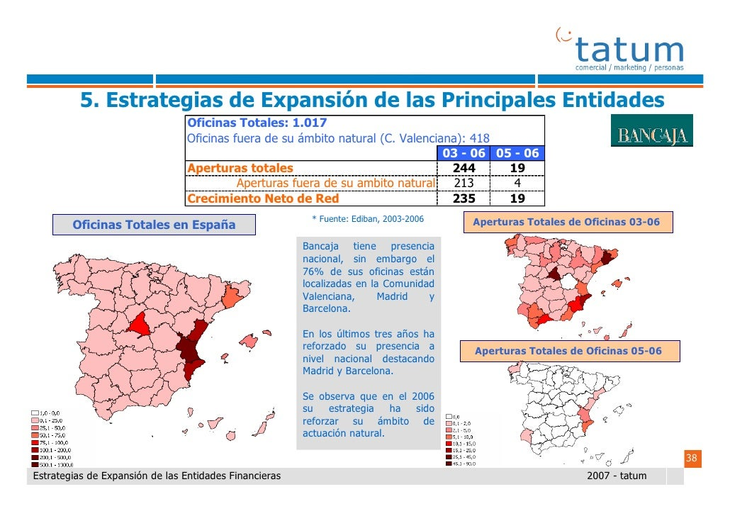 Informe tatum estrategias de expansi n de las entidades for Oficinas de ibercaja en barcelona