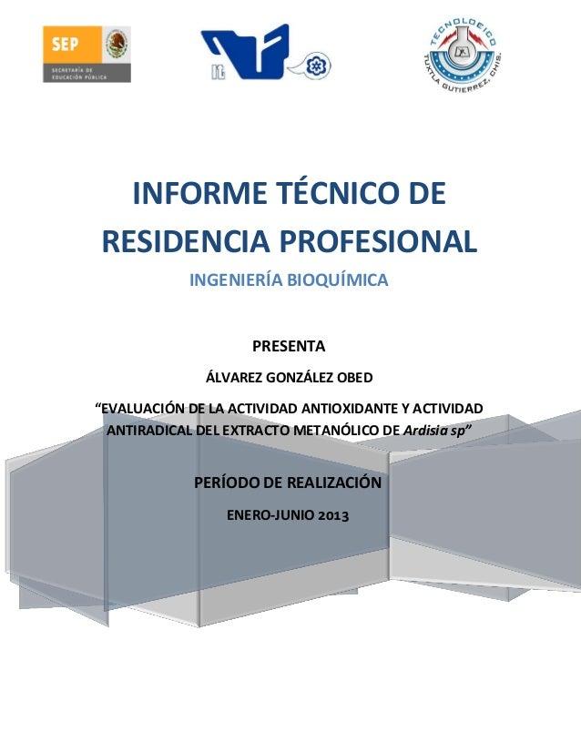 PERÍODO DE REALIZACIÓN ENERO-JUNIO 2013 INFORME TÉCNICO DE RESIDENCIA PROFESIONAL INGENIERÍA BIOQUÍMICA PRESENTA ÁLVAREZ G...