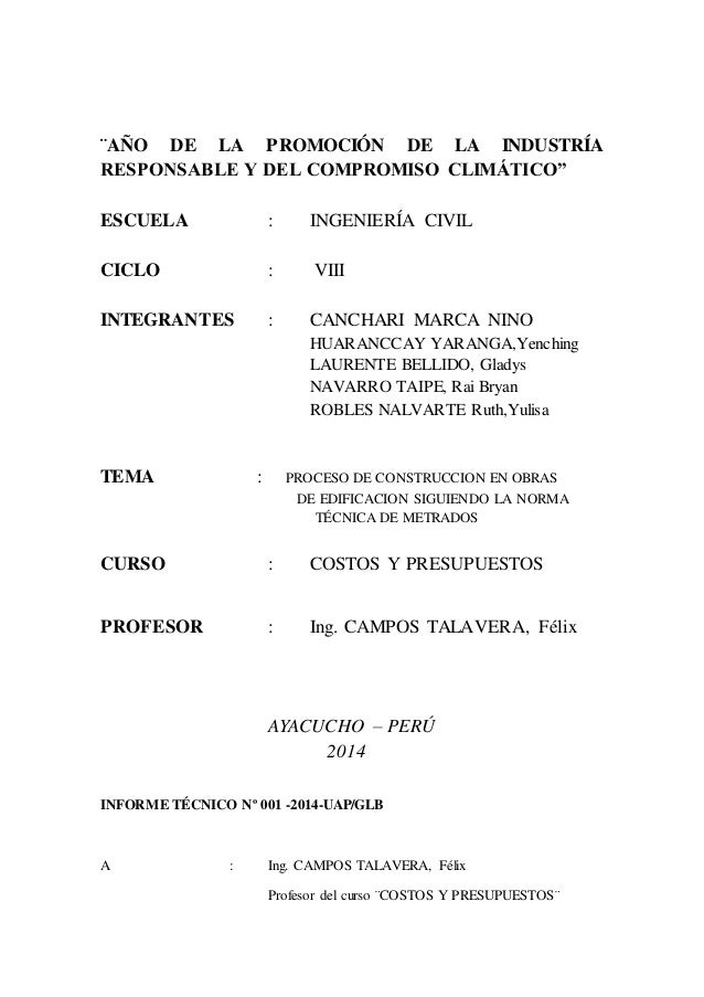 Informe t cnico n 001 costosy presupuestos for Presupuesto de obra de construccion pdf
