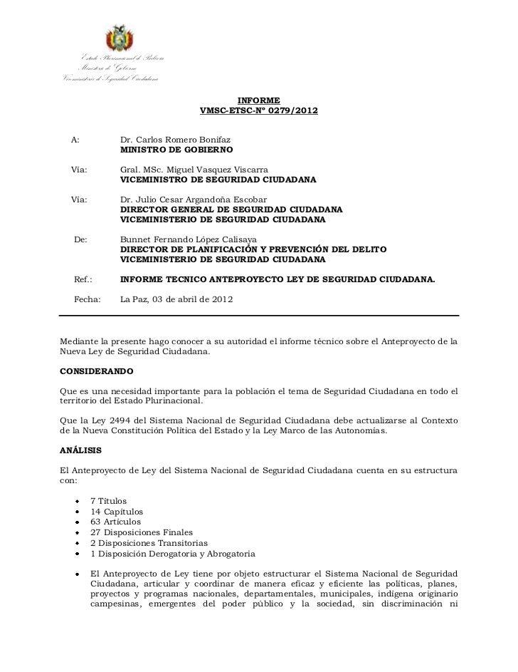 Estado Plurinacional de Bolivia      Ministerio de GobiernoViceministerio de Seguridad Ciudadana                          ...