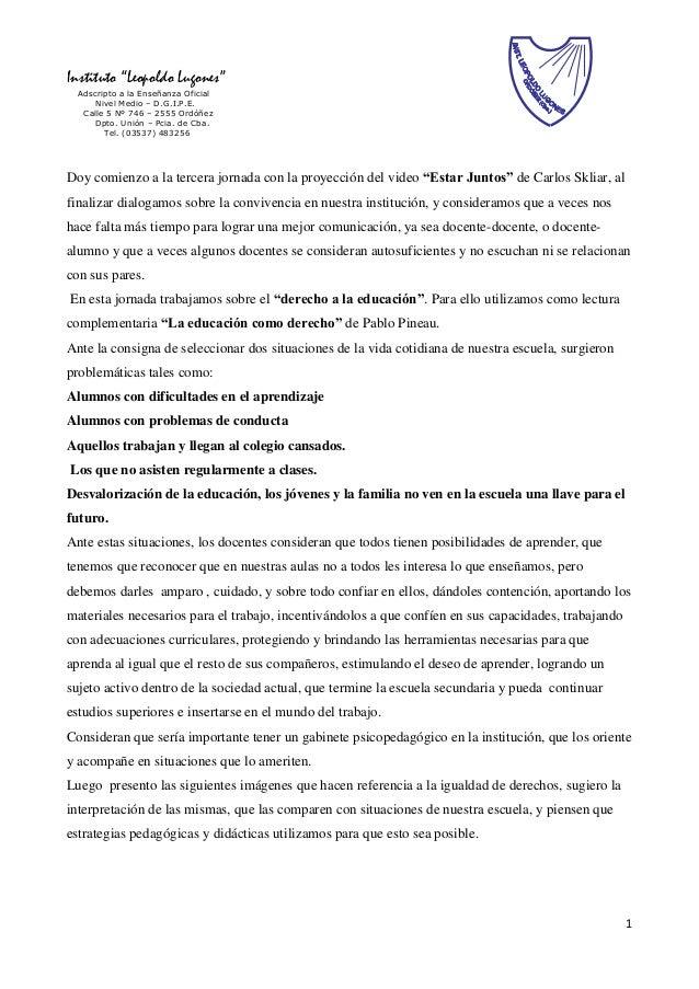 """1 Instituto """"Leopoldo Lugones"""" Adscripto a la Enseñanza Oficial Nivel Medio – D.G.I.P.E. Calle 5 Nº 746 – 2555 Ordóñez Dpt..."""