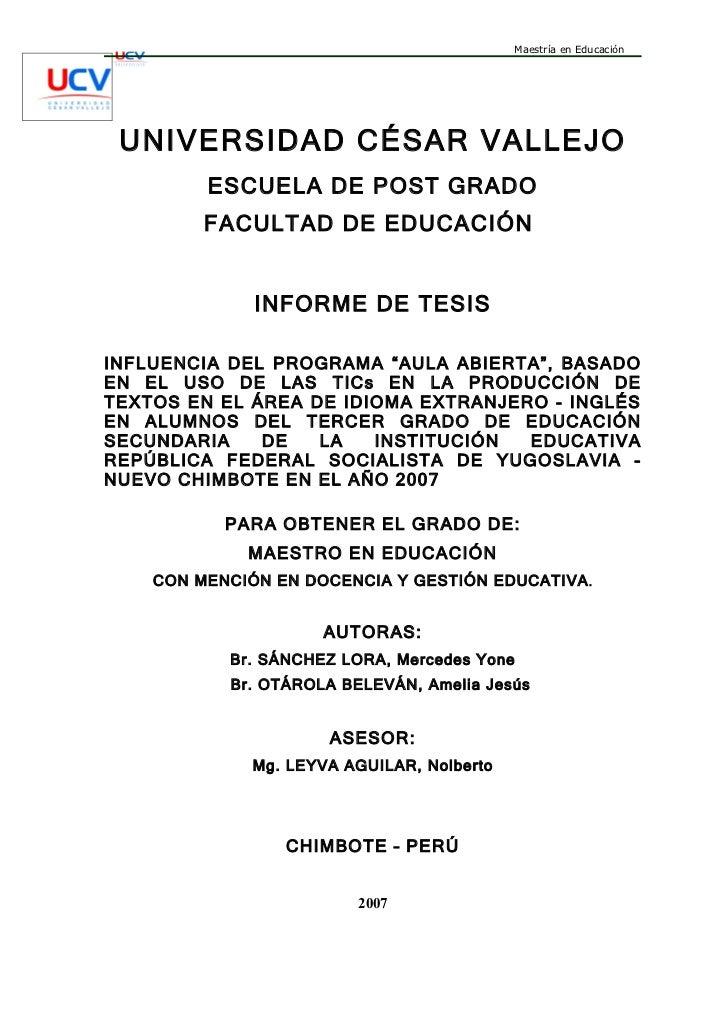 Maestría en Educación UNIVERSIDAD CÉSAR VALLEJO         ESCUELA DE POST GRADO         FACULTAD DE EDUCACIÓN              I...